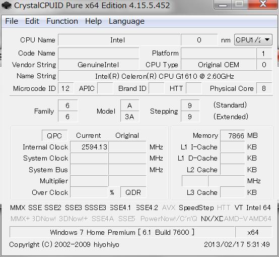 Celeron G1610 CPI ID