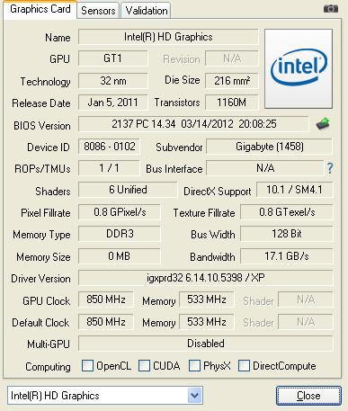 Celeron G550 GPU-Z